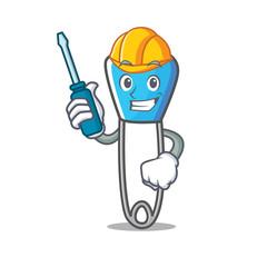 Automotive safety pin mascot cartoon