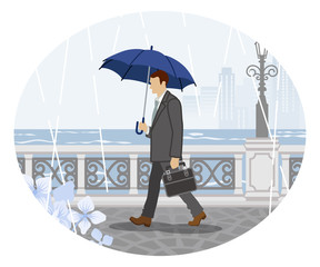 Rainy scene clip art - Businessman ,Side view  梅雨の風景 クリップアート- ビジネスマン 側面
