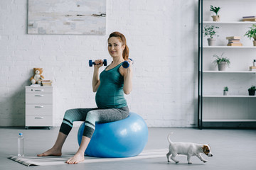 attractive pregnant woman exercising with dumbbells on fitness ball in living room