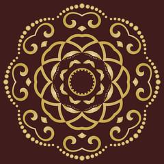 Round golden ornament. Modern background. Geometric modern pattern