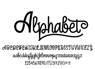 Latin alphabet. Font handwriting with upper and lowercase characters, numbers and symbols. Modern script of monolines.