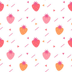 cute colorful seamless vector pattern background illustration with strawberries