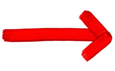 Gemalter roter Pfeil zeigt nach rechts