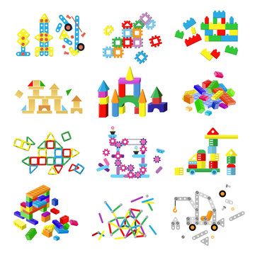 Kids building blocks vector baby toy colorful bricks to build or construct cute color construction in childroom illustration set of children blocks games isolated on white background