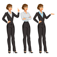 Woman in business suit with glasses. Elegant girl in different poses. Businesswoman or secretary, standing and gesturing. Stock vector, eps 10.