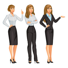 Woman in business suit with glasses. Elegant blond girl in different poses. Consultant or secretary, standing and gesturing. Stock vector, eps 10.