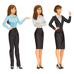 Woman in business suit with glasses. Elegant brunette girl in different poses. Consultant or secretary, standing and gesturing. Stock vector, eps 10.