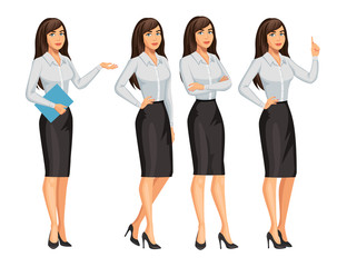 Woman in business style. Elegant brunette girl in different poses. Consultant or secretary, standing and gesturing. Stock vector, eps 10.