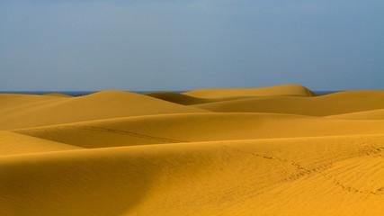 Landscape of empty sand dunes  in Maspalomas, Gran Canaria.