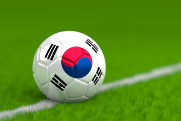 Soccer Ball With South Korean Flag 3D Render