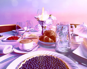 Blueberry pie located on the festive table in restaurant. Still life food.