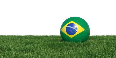 Brazil Brazilian flag soccer ball lying in grass, isolated on white background. 3D Rendering, Illustration.