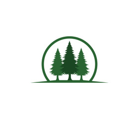 pine tree hotel resort woods park vector logo design