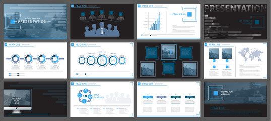 Blue, black, elements of presentation templates, white, background. Set, slides.Vector infographic. Business presentations, corporate reporting, marketing,advertising,annual report, postcards,banners
