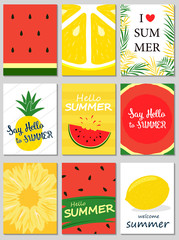 Set of colorful summer poster with pineapple, watermelon, lemon, palm leaves and hand written text