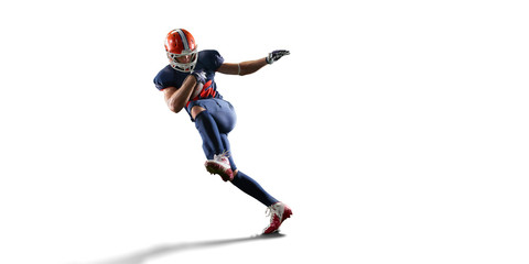 Isolated American football player in white background Wall mural