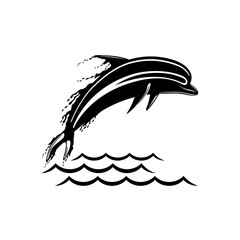 Black dolphin sign on a white background.