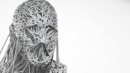 3d rendering of cyborg face on white background represent artificial intelligence. Future science, modern technology concept. 3d illustration