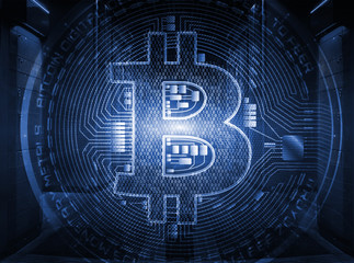 Bitcoin crypto currency sign on globe inside symmetric server room with rows of mainframes in modern data center, futuristic dark design