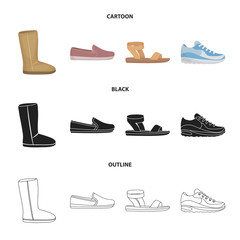 Beige ugg boots with fur, brown loafers with a white sole, sandals with a fastener, white and blue sneakers. Shoes set collection icons in cartoon,black,outline style vector symbol stock illustration