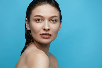 Skin Care. Young Woman With Beauty Face