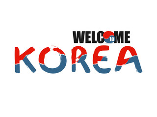 Welcome South Korea font stylized of colors national country flag. Hand drawn vector illustration. Korean colorful brush strokes painted  calligraphy text.
