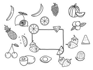 Fruit doodle set.