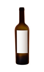 Fototapeta pusta butelka wina z białą etykietą obraz