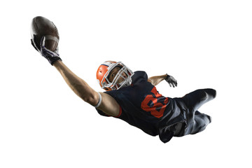 Isolated American football player catches the ball and fly in white background Wall mural