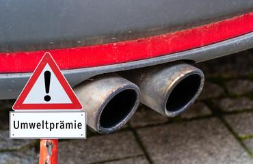 Auspuff Warnschild Umweltprämie