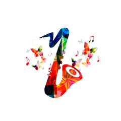 Music colorful background with saxophone. Music festival poster. Sax isolated vector illustration. Music instrument vector
