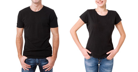 Shirt design and people concept - close up of young man and woman in blank black t-shirt front isolated.