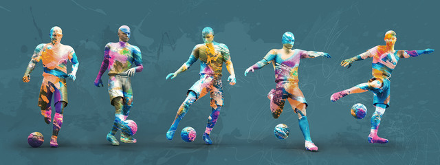 abstrct soccer players