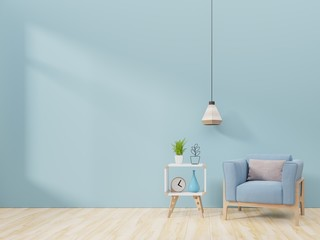 Modern living room interior with armchair and green plants,lamp,cabinet on blue wall background. 3d rendering.