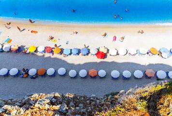 Aerial view of Porto Katsiki beach, with people enjoying summer holiday in Lefkada island, Greece