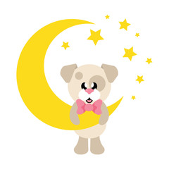 cartoon cute dog with tie and moon
