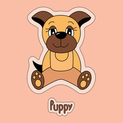Cute puppy, dog, cartoon sticker, funny animal, child's drawing, card. Logo to petshop. Totem symbol of the Chinese horoscope
