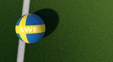 Soccer ball in swedens national colors on a soccer field. Copy space on the right side - 3D Rendering
