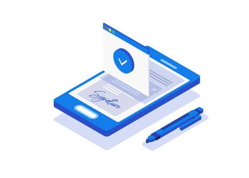 Digital signature, bill. Flat 3d web isometric contract signature infographic concept vector