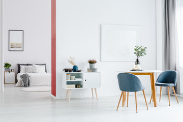 Wall separating open space interior