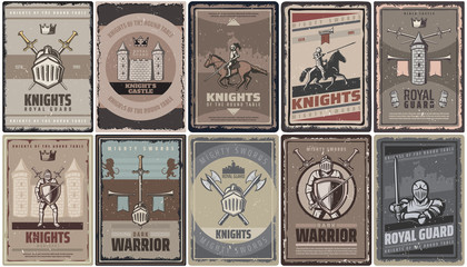 Vintage Colored Medieval Knights Posters