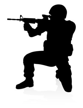 Soldier Detailed High Quality Silhouette