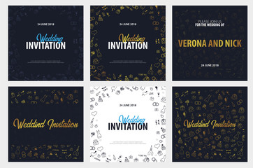 Set of Wedding Invitation tamplates with doodle elements on a background. Save the date card. Vector illustration