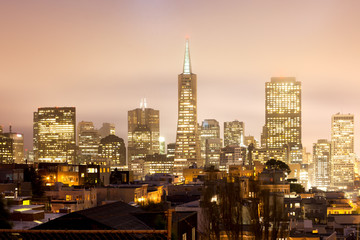 Skyline of Financial district of San Francisco at night, California, USA
