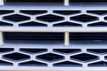 Front grill of a car, close up