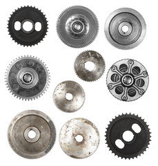Set metal gears isolated on white, design element