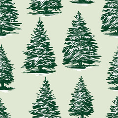 Seamless background of the drawn christmas trees