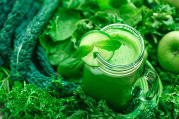 Fresh Organic Green Juice with Cucumber and Mint Garnish