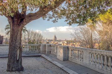 Pincio terrace and Rome at dawn, Pincian Hill Rome, Italy