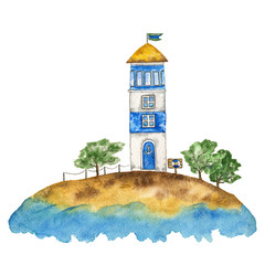 Lighthouse on an island in the sea. Landscape. Watercolor hand drawn illustration.